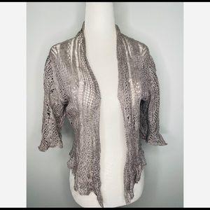 Eileen Fisher Crochet Open Shrug Cardigan Grey